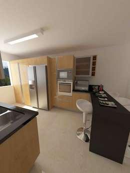 Cocinas Modelo Apartamentos EVC: Cocinas de estilo moderno por OPFA Diseños y Arquitectura