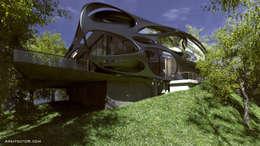 Oficinas: Casas de estilo moderno por arkitecto9.com
