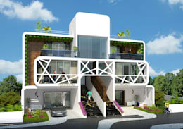 MODERN GREEK THEMED BUNGALOW SCHEME,KHANDALA: mediterranean Houses by AIS Designs