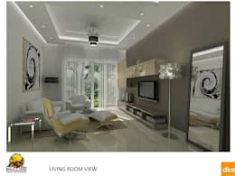Kolte Patil Mirabillis apartment: modern Living room by Dutta Kannan architects