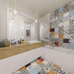 Ванные комнаты в . Автор – Pracownia Aranżacji Wnętrz 'O-Kreślarnia'