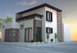 VISTA DE FACHADAS: Estudios y oficinas de estilo minimalista por Acrópolis Arquitectura