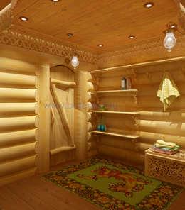 Дизайн бани из бревна в русском народном стиле: Спа в . Автор – Дизайн студия 'Дизайнер интерьера № 1'