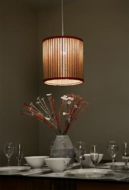 Sustainable Handmade Sylvn Studio Tambour Red Hanging Lamp: modern Living room by Sylvn Studio