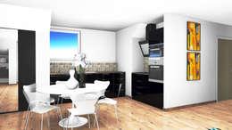 Vue en 3D de futur d'appartements : Cuisine de style de style Moderne par D.DESIGN