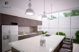 "Proyecto Arquitectónico "" Casa XC03""       : Cocinas de estilo moderno por PORTO Arquitectura + Diseño de Interiores"