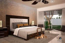"Proyecto Arquitectónico "" Casa XC03""       : Recámaras de estilo moderno por PORTO Arquitectura + Diseño de Interiores"