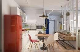 Дизайн проект кухни-гостиной для молодой увлеченной танцами пары.: Кухни в . Автор – Катя Волкова