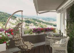 Дизайн балкона г. Сочи: Tерраса в . Автор – Студия дизайна Дарьи Одарюк