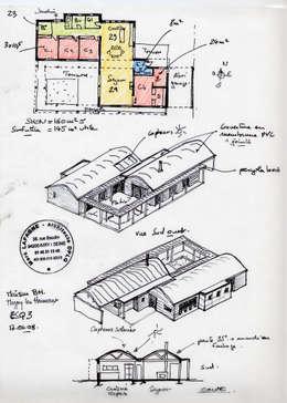 Le plan et les axonométries au stade esquisse.:  de style  par Atelier d'Architecture Marc Lafagne,  architecte dplg