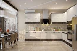 """Дизайн кухни в современном стиле в ЖК """"Солнечный"""": Кухни в . Автор – Студия интерьерного дизайна happy.design"""