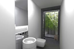 Baños de estilo minimalista por Colectivo de Melhoramentos