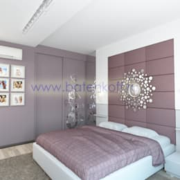 Дизайн проект спальни в современном стиле от Батенькофф: Спальни в . Автор – Дизайн студия 'Дизайнер интерьера № 1'