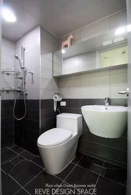 동탄아파트인테리어 시범다은마을 월드메르디앙 24평 인테리어: 디자인스튜디오 레브의  화장실