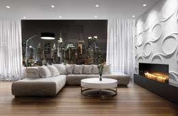 Kamin Wandverkleidung 3D aus Gips: moderne Wohnzimmer von Loft Design System Deutschland