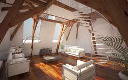 Penthouse TEMW Utrecht : moderne Woonkamer door 2architecten