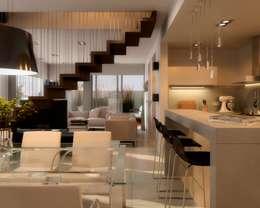 Edificio Mística VII: Pasillos y recibidores de estilo  por AMADO arquitectos