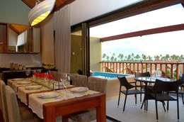 Projeto Sky- Malawí Beach Houses, Muro Alto, Pernambuco, Brasil: Salas de jantar rústicas por Deise leal interiores