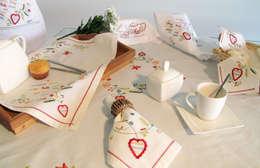 Inspirado no bordado dos namorados - mesa: Sala de jantar  por Suspiro d'Algodão