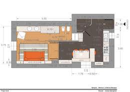 Apart. 40 MI: Soggiorno in stile in stile Moderno di MmArchi.  I  Monica Maraspin Architetto