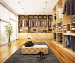 Dormitorios de estilo  por Piwko-Bespoke Fitted Furniture