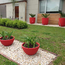 un jardin moderno con grandes macetas rojas: Jardines de estilo moderno por BAIRES GREEN