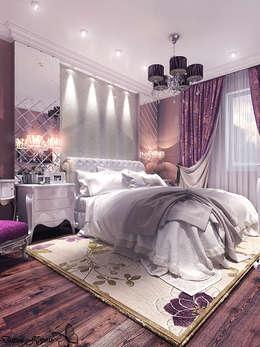 Проект спальни с гардеробной в частном коттедже: Спальни в . Автор – Your royal design