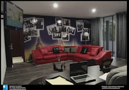 sala de estar: Salas multimedia de estilo moderno por Excelencia en Diseño