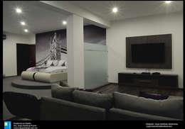 recamara con sala: Recámaras de estilo moderno por Excelencia en Diseño