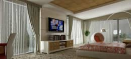 VRLWORKS – Ahmet Önçelik Villası Kemer: modern tarz Yatak Odası