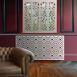 Marrakesh radiator covers in satin white:   by Laser cut Furniture & Screens