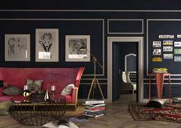 Ceren Torun Yiğit  – Pink Sofa / Interior Skech: endüstriyel tarz tarz Oturma Odası