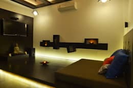modern Media room by RUST the design studio