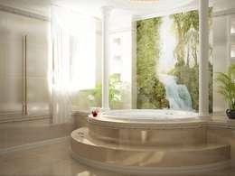 НА ЯЧЕНСКОМ ВОДОХРАНИЛИЩЕ  : Ванные комнаты в . Автор – АЛЕКСАНДР ЕЛАШИН. СТУДИЯ ДИЗАЙНА ЭЛИТНЫХ ИНТЕРЬЕРОВ.