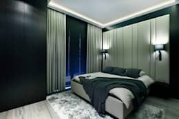 Elegancki apartament, w którym  króluje czerń: styl , w kategorii Sypialnia zaprojektowany przez FLOW Franiak&Caturowa