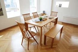 고운(W) 원목 와이드 4인 식탁세트(의자/벤치): 레트로하우스의  주방
