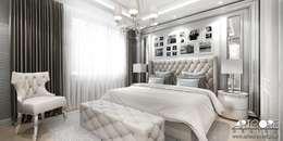 Five o'clock - projekt wnętrza apartamentu w Warszawie: styl , w kategorii Sypialnia zaprojektowany przez ArtCore Design