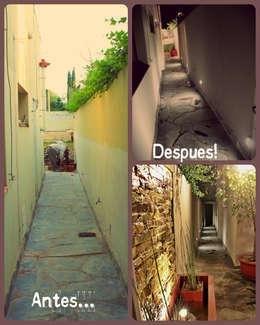 Entrada lateral: Pasillos y recibidores de estilo  por LAS MARIAS casa & jardin