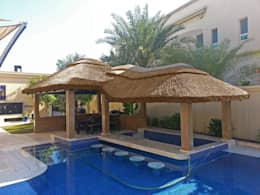 prgola de junco africano jardines de estilo tropical de junco africano