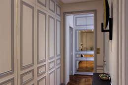 Rénovation d'un appartement haussmannien à Paris: Couloir et hall d'entrée de style  par Olivier Stadler Architecte
