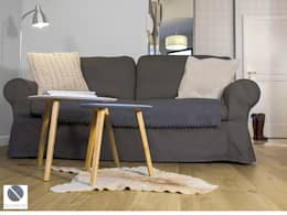 Salon - Detal kanapy wraz z widokiem na przedpokój: styl , w kategorii Salon zaprojektowany przez DoMilimetra