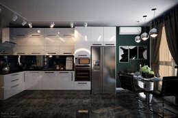 """Дизайн кухни-гостиной и прихожей в современном стиле в ЖК """"Большой"""": Кухни в . Автор – Студия интерьерного дизайна happy.design"""