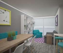 Comedor y Sala: Comedores de estilo moderno por Teorema Arquitectura