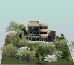 Fachada Sur: Casas de estilo moderno por OMAR SEIJAS, ARQUITECTO