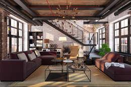 Salas de estilo industrial por Александра Клямурис