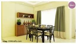 flat Interior Designs: modern Dining room by 100Krafts