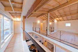 2階南面に配したインナーバルコニー: 合同会社negla設計室が手掛けたベランダです。
