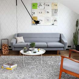 3-Sitzer Sofa im Retro-Look in grau: moderne Wohnzimmer von Baltic Design Shop