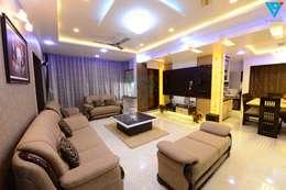 Gulmohor: modern Living room by V9 - the interior studio