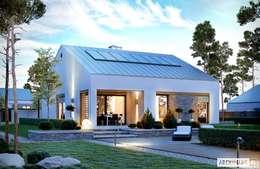 PROJEKT DOMU Ralf G1 – nowoczesny i energooszczędny dom do 100 m²: styl nowoczesne, w kategorii Domy zaprojektowany przez Pracownia Projektowa ARCHIPELAG